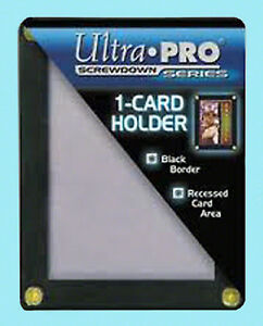 ULTRA-PRO-BLACK-FRAME-1-CARD-SCREWDOWN-HOLDER-Recessed-4-Screw-Clear-Display-New