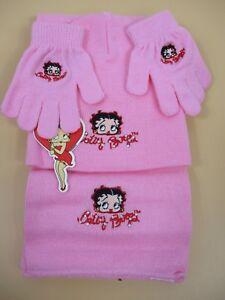 Betty Boop Junior Womens 3-Piece Winter Set-Magic Glove,Beanie Hat, Scarf - Pink