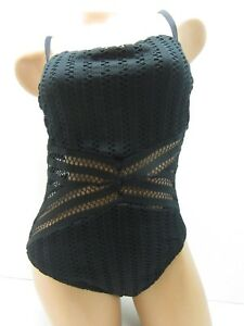 Women's Kenneth Cole Tough Luxe One Piece Swimsuit Black Size M
