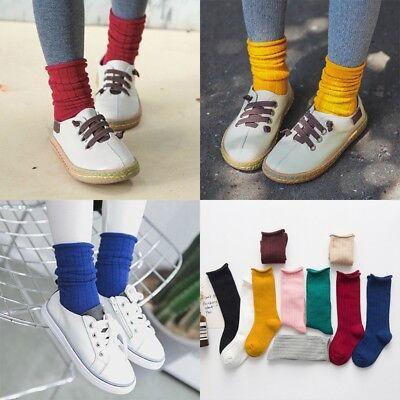 Children Girls Long Boot Socks Solid Candy Color Leg Warmer Vertical Stripe Hose