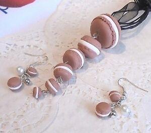 Parure-Collier-amp-Boucles-Oreilles-MACARONS-en-Fimo-Idee-Cadeau-Unique-amp-Gourmand
