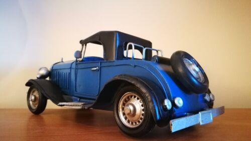Blechspielzeug US OLDTIMER blau schwarzes Verdeck Nostalgie Blechauto Blech Modellauto 30er Jah