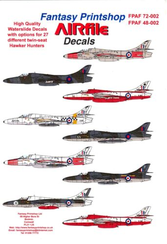 Airfile Decals 148 HAWKER HUNTER TWIN SEAT FIGHTERS IN R.A.F. SERVICE