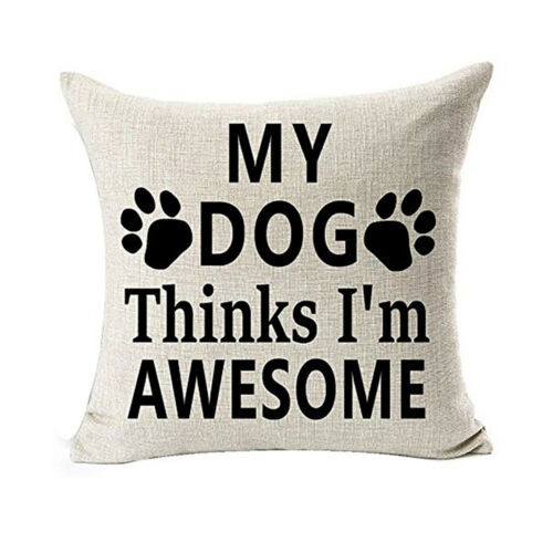 "1pc Pet Dog Lover cadeaux en lin Throw Taie d/'oreiller Housse de coussin 18/""x18/"""