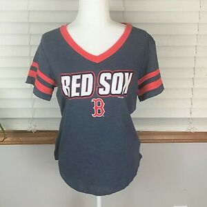 MLB Boston Red Sox womens short sleeve v-neck shirt-blue-size Small-NWT