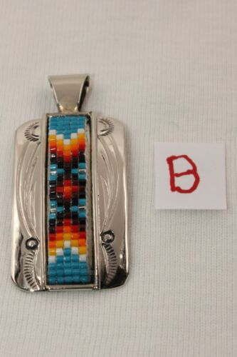 Signed Native American Navajo Made Silver Colorful Beaded Pendant