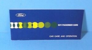 71 1971 Ford Passenger Cars Care and Operation owners manual