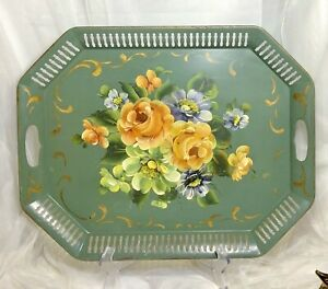VTG-FRENCH-TOLE-TRAY-SAGE-GREEN-HAND-PAINTED-FLOWER-FLORAL-PIERCED-METAL-20x16