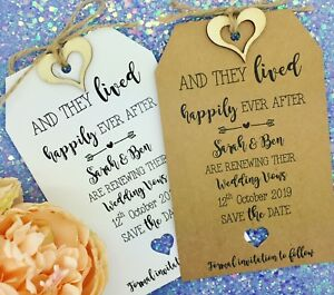 Vow renewal anniversary invitation save the date tag card wedding image is loading vow renewal anniversary invitation save the date tag stopboris Images