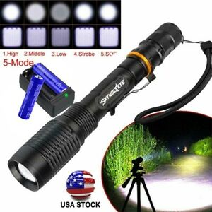 Zoomable 990000Lumens 5Mode High Power LED Flashlight Torch 186*50 Charger JA