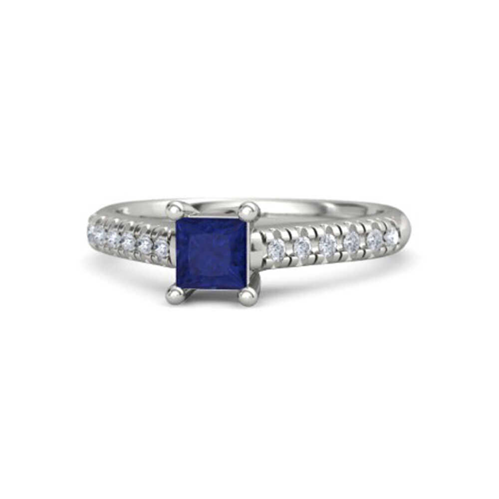 1.20 Ct Natural bluee Sapphire Gemstone Diamond Rings 14K Solid White gold Size 6