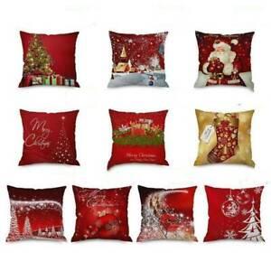 Rouge-Noel-Elan-Oreiller-Decoratif-Etuis-Housse-Coussin-Maison-Lizzj