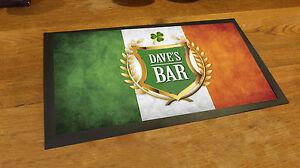 Personalised-with-any-name-Irish-Flag-Shamrock-bar-runner-beer-pub-mat-man-cave