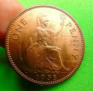 Coronation-lustred-UNC-1953-Elizabeth-Penny-1d-lucido-8-pieces