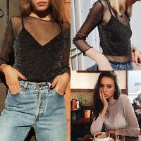 2017 Women Sexy See-through Sheer Mesh Blouse Long Sleeve Casual Top Tee T Shirt