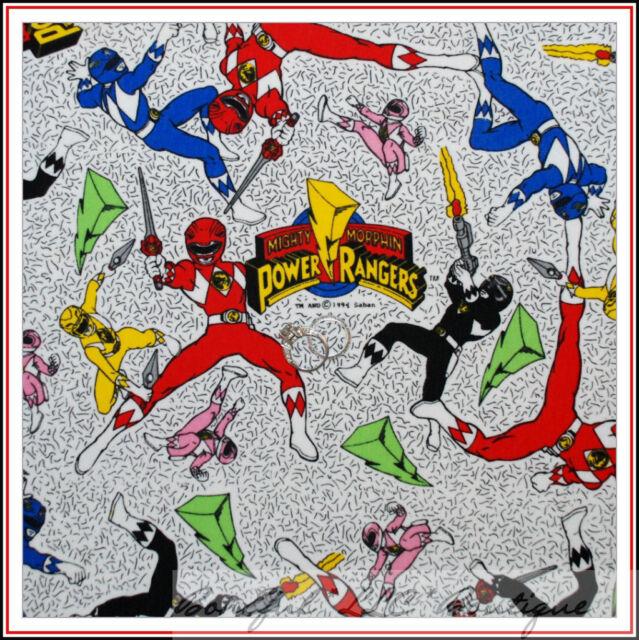 BonEful Fabric COTTON KNIT Mighty Morphin Power Rangers Super Hero Boy USA SCRAP