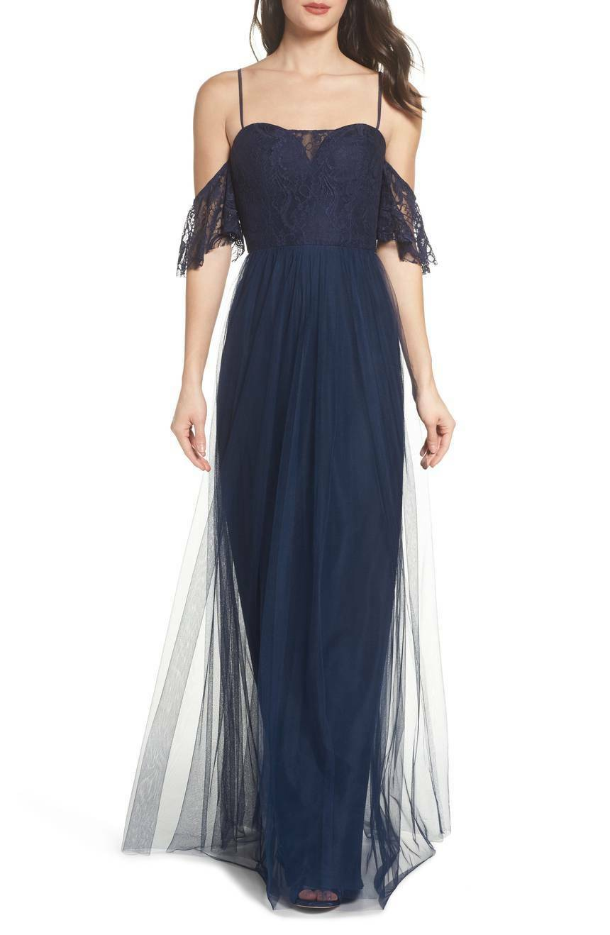 NWOT navy Hayley Paige Occasions Cold Shoulder Lace Lace Lace Gown size  16 8a0c2a