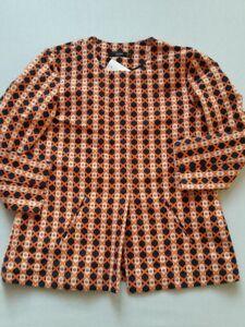Retro Nuovo 42 nero Giacca Arancione Tgl Hallhuber Multicolore Uk14 vq58Tw