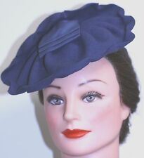 vintage 1930 WOMAN'S HAT BLUE FELT RUFFLED TILT MADE IN USA BLUE RIBBON ACCENTS
