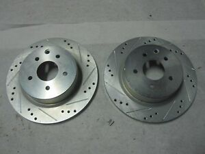 Rear eLine Drilled Slotted Brake Disc Rotors /& Ceramic Brake Pads REC.03018.02