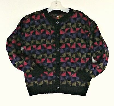 USA Made 100% Wool ALPS Womens Small Medium Geometric Pattern Preppy Sweater Old