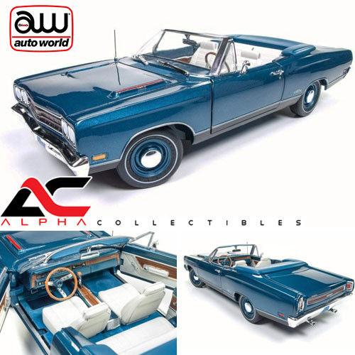 Autoworld AMM1102 1 18 1969 Plymouth GTX cabriolet Jamaican bleu Limited Ed 1002