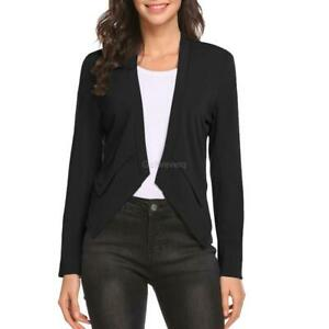 eb298bcfcb5 Image is loading Women-Collarless-Long-Sleeve-Casual-Work-Office-Open-