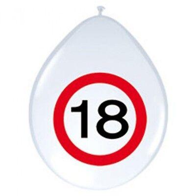 GemäßIgt 8 Luftballons Party Deko Zum 18. Geburtstag Ballon Zahl Im Roten Warnkreis