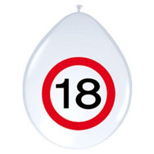 8 Luftballons Party Deko zum 18 Geburtstag Ballon Zahl im roten Warnkreis