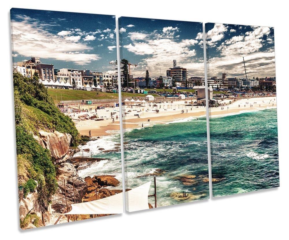 Bondi Beach Sydney Framed TREBLE CANVAS Drucken Wand Kunst