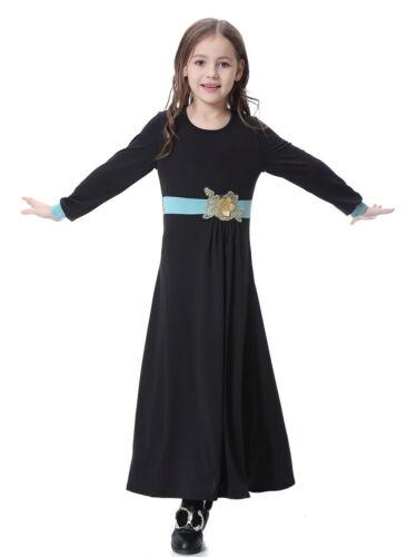 Muslim Kids Paryer Wear Dress Arab Islamic Child Girls Long Sleeve Abaya Kaftan