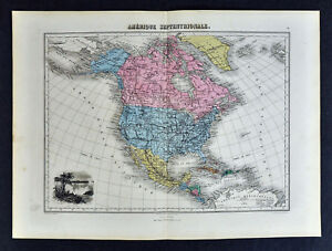 1877 Migeon Map North America United States Canada Mexico