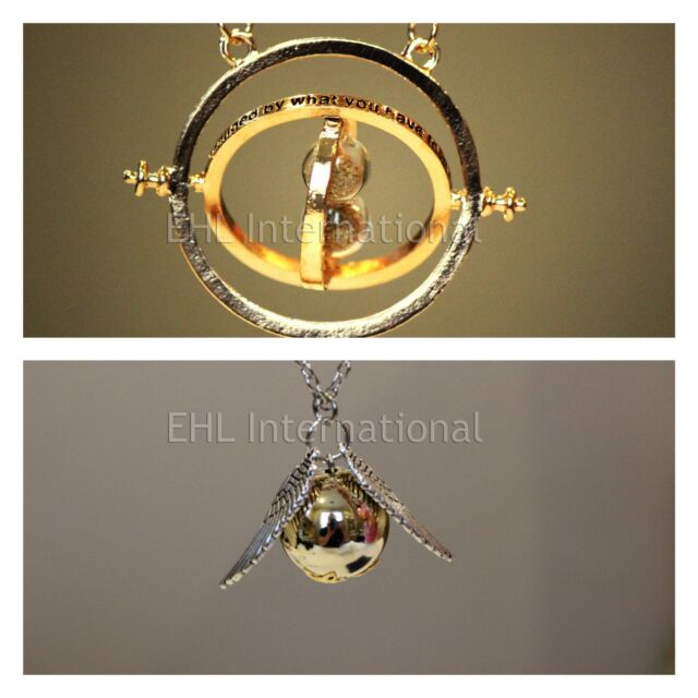 Harry Potter's Golden Snitch Necklace and Hermione's Time-Turner Necklace 2pcSET