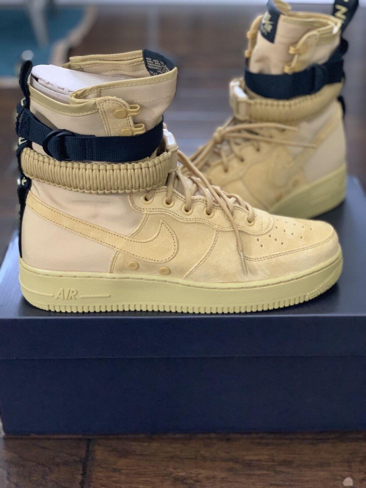 Nike Air Force 1 Mens 10.5 Club Gold High Top Turnschuhe