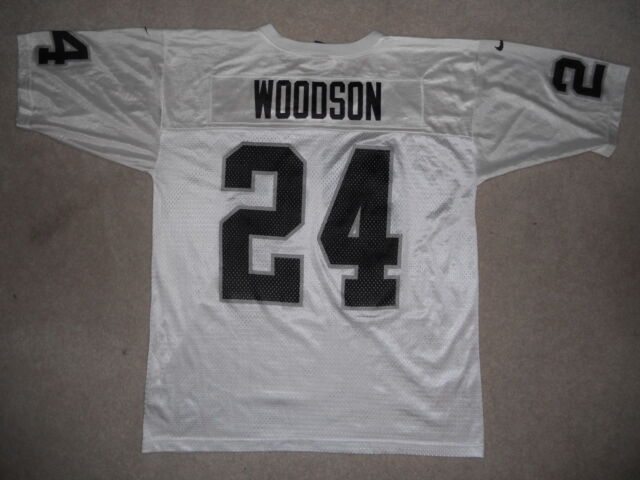 detailed look f6b2b 606f2 Oakland Raiders NFL Football Jersey #24 Charles Woodson Nike XL White HOF  CB W@W