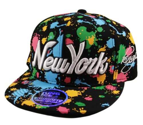 K I.Headwear Snapback NY Block /& Script New York Splash Snap Back Cap Hat