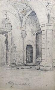Zeichnung-Bleistift-Studie-Skizze-Gotik-Gewoelbe-Architektur-13-5-x-22-cm