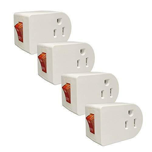 Wall Grounded Outlet Tap Adapter Push On//Off Switch Power Prong 4 Pack SAFE