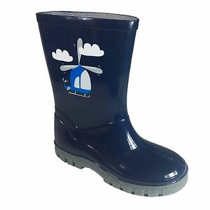 3 Boys Navy Wellies Blue Helicopter Wellington Boots Infant Size qSwFP8xq