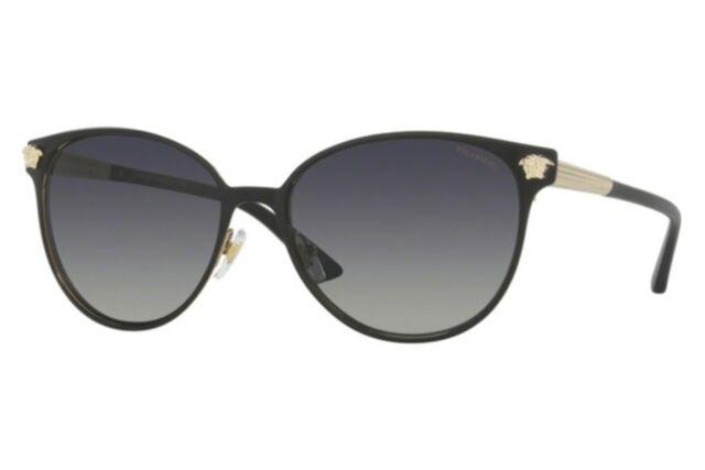 b7f1bab12042 NWT Versace Sunglasses VE 2168 1377T3 Polarized Black Gold / Gradient Gray  57 mm