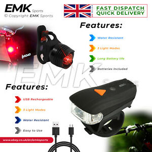 Bright LED Rear Back Tail Lights Bike Bicycle Cycle Rechargeable Water-resistant