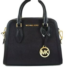 298-New-MICHAEL-KORS-Women-s-Handbag-AYDEN-MD-SATCHEL-LEATHER-BLACK-Crossbody