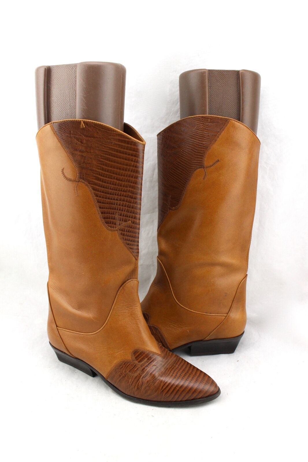 NINE WEST Vintage Camel Tan Lizard Embossed Leather Cowboy Western Stiefel 7.5