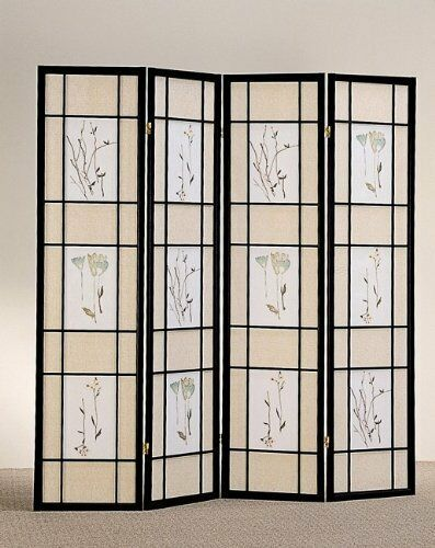 4 /& 3 Panel Wood Shoji Screen Room Divider Flowered Design