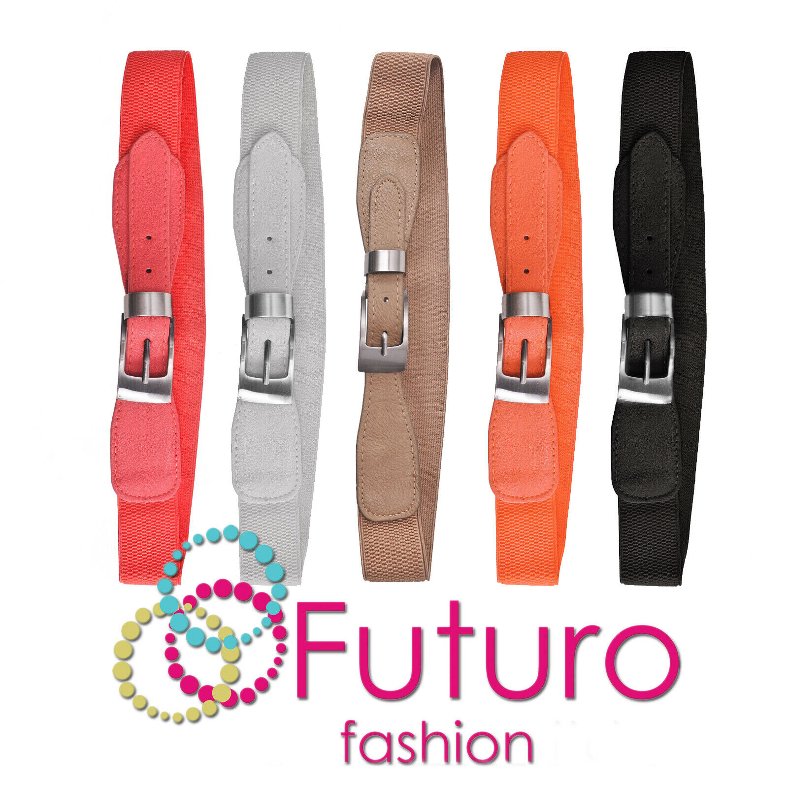 Womens Classic Belt with Metal Pin Rectangular Buckle Stretchy Waistband FP934