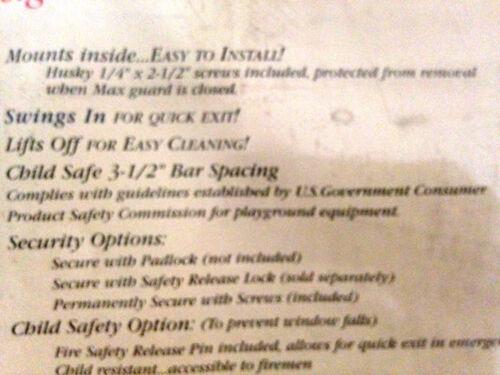 "4 JOHN STERLING Knape /& Vogt 1175 Window Security MAX Guard 5 Bar 21/"" Tall"