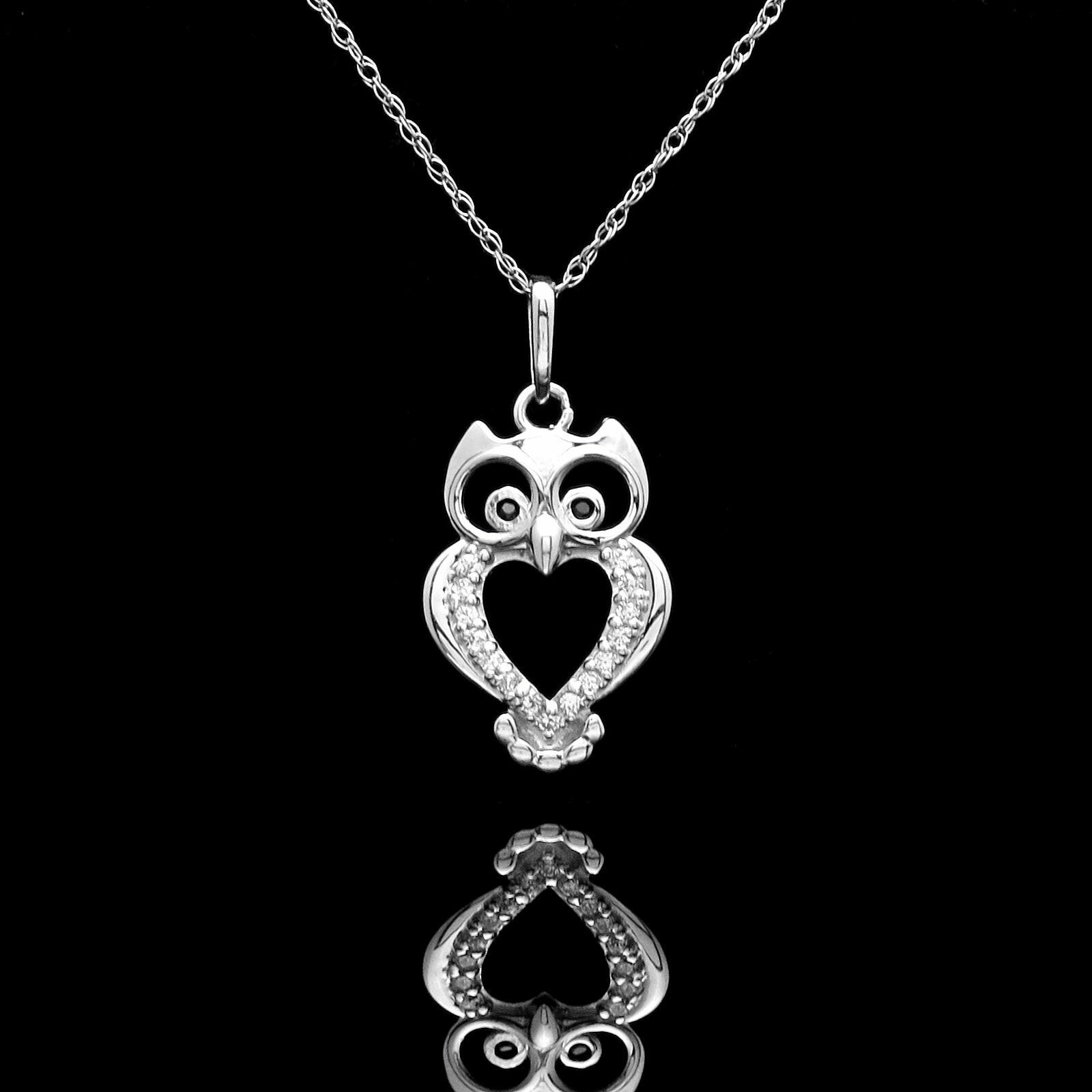 Owl Pendant 0.12tcw Created Diamond 14K White gold Charm for Chain