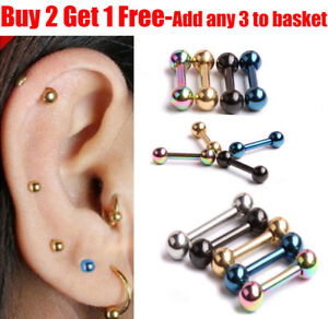Details About Surgical Steel Forward Helix Ball Cartilage Stud Tragus Stud Piercing Earring