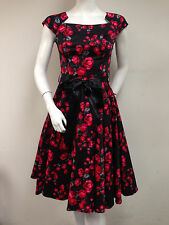HEARTS AND ROSES Black Red Vintage Floral A-line Dress SZ 4 NWT Cap Sleeves