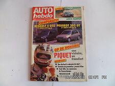 AUTO HEBDO N°586 12/08/1987 PEUGEOT 205 GT RENAULT 5 GTX RALLYE ARGENTINE  G16